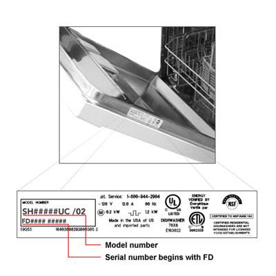 bosch serial number dishwasher